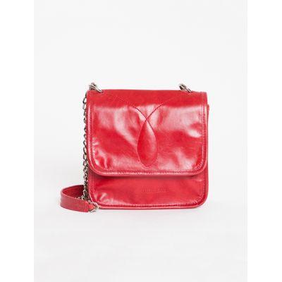 Bolsa Pequena Alça Correte Bordado Ômega - Vermelho