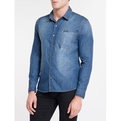 Camisa Jeans Manga Longa 1 Bolso S Lapel - Azul Médio