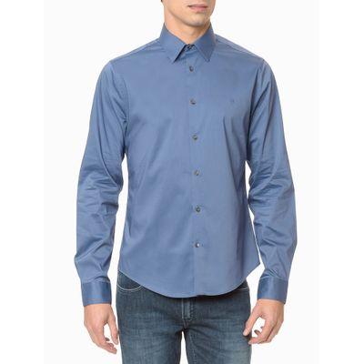 Camisa Mg Longa Masculina Azul Médio