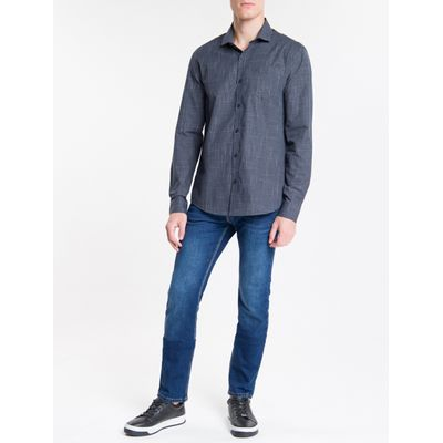 Camisa Relugar Masculina Xadrez Azul Marinho