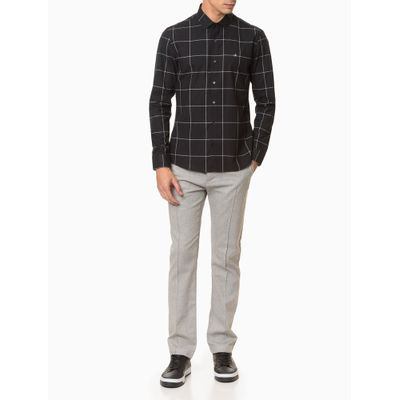 Camisa Slim Ml Fio Grid Sustainable Excl - Preto