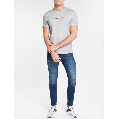 Camiseta Masculina Básica Estonada Cinza Claro Calvin Klein Jeans