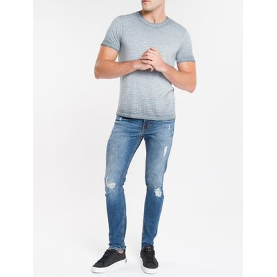 Camiseta Masculina Devore Chumbo Calvin Klein Jeans
