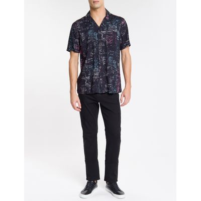Camisa Mc Reg Print Havaia N/D - Preto