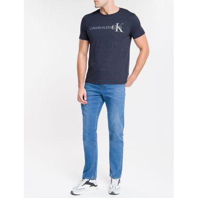 Camiseta Masculina Básica Logo CK Lateral Marinho Calvin Klein Jeans