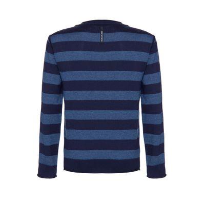 Tricot Suéter Listrado Gola C Misto Mesc - Marinho