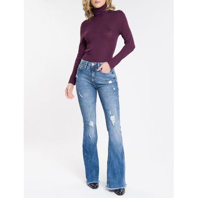 Blusa Feminina Manga Longa e Gola Alta Bordô Calvin Klein Jeans
