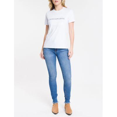 Blusa Feminina Slim Logo Gravado Branca Calvin Klein Jeans