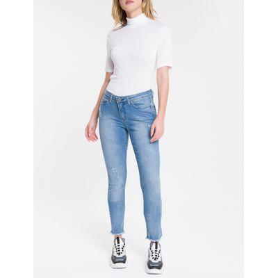 Blusa Feminina Slim Gola Alta Branca Calvin Klein Jeans