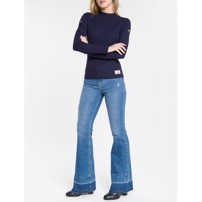 Blusa Feminina Canelada Manga Longa Azul Marinho Calvin Klein Jeans