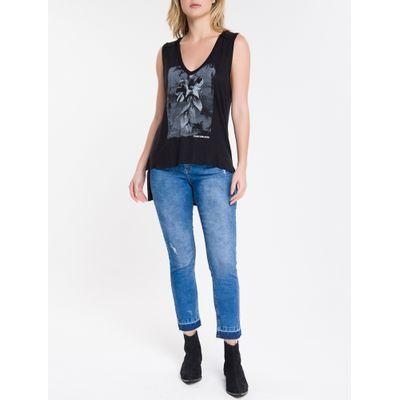 Blusa Regata Feminina Estampa Flor Preta Calvin Klein Jeans