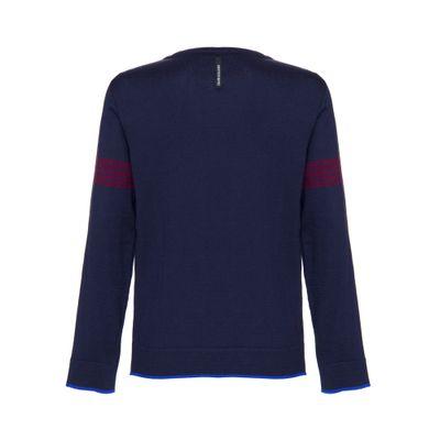 Tricot Suéter Liso Gola C Algodão Básico - Marinho