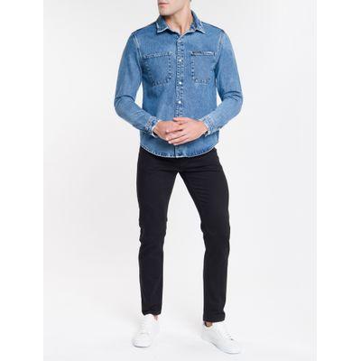 Camisa Jeans Manga Longa Overshirt - Azul Claro