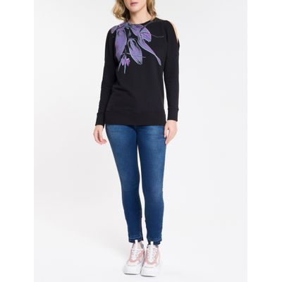 Casaco Feminino Moletom Flores Recorte Ombro Preto Calvin Klein Jeans
