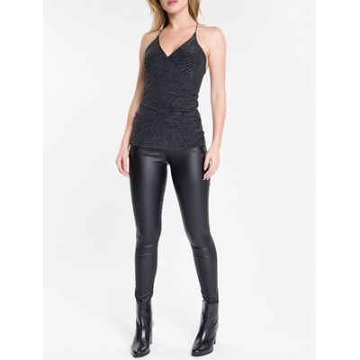 Blusa Regata Feminina Transpassada Preta Calvin Klein Jeans