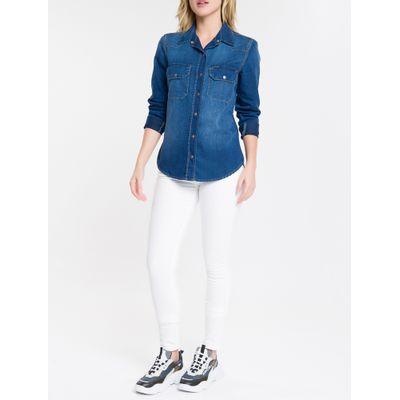Camisa Jeans Manga Longa 2 B. Lapelas - Azul Médio