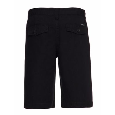Bermuda Color Chino Regular Sarja Amac - Preto