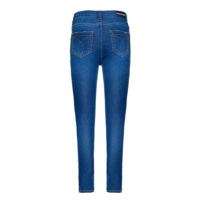 Calça Jeans Five Pockets Degrau Barras - Azul Médio