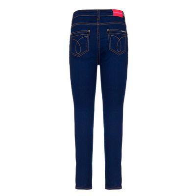 Calça Jeans Five Pockets Fendas Laterais - Marinho