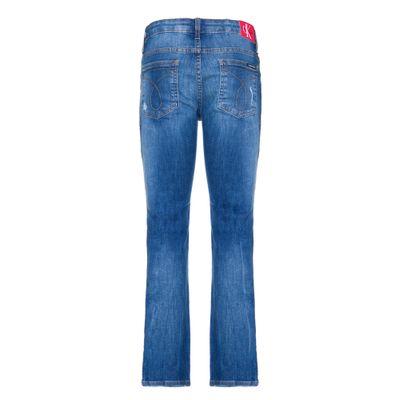 Calça Jeans Five Pockets Skinny Puídos - Azul Médio