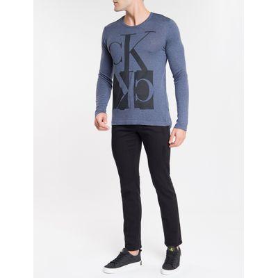 Tricot Suéter Estampado Gola C Algodão - Indigo