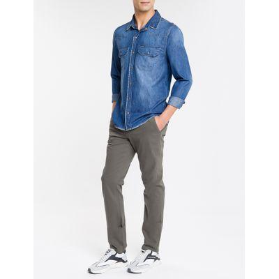 Camisa Jeans Manga Longa 2 Bolsos Lapela - Azul Médio