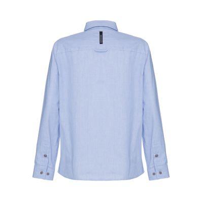 Camisa Ml Ckjr Mini Listrado Com Silk Lo - Azul Escuro