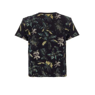 Blusa M/C Ckj Recortes Floral Jungle - Preto