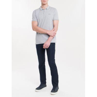 Polo Slim Básica Calvin Klein Relevo - Cinza Mescla
