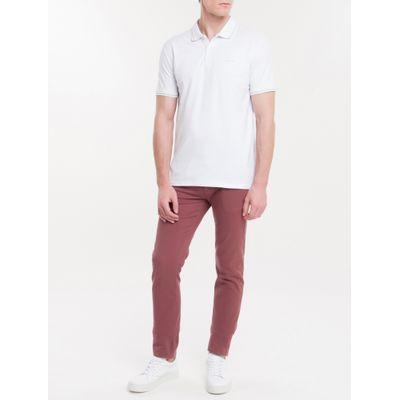 Polo Slim Básica Calvin Klein Relevo - Branco