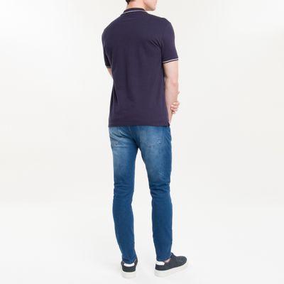 Polo Slim Básica Calvin Klein Relevo - Azul Marinho