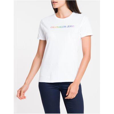 Blusa Feminina Slim Logo Pride Branca Calvin Klein Jeans