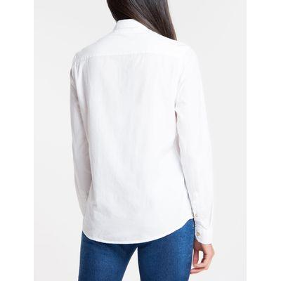 Camisa Ml Slim Lisa Alg Tinturada - Branco