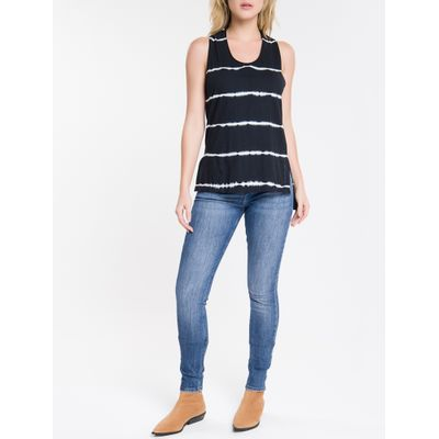 Calça Jeans Feminina Five Pockets Etiqueta Metalizada Cintura Média Azul Marinho Calvin Klein