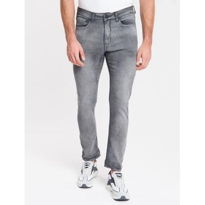 Calça Jeans Masculina Five Pockets Athletic Taper Cintura Baixa Cinza Médio Calvin Klein