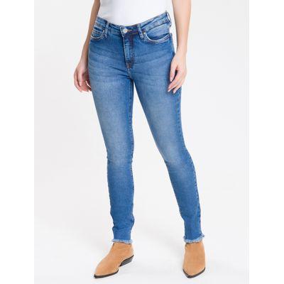Calça Jeans Feminina Five Pockets Super Skinny Cintura Média Azul Médio Calvin Klein