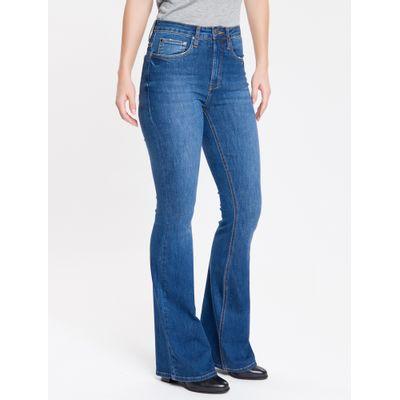 Calça Jeans Feminina Five Pockets Flare Cintura Super Alta Azul Marinho Calvin Klein