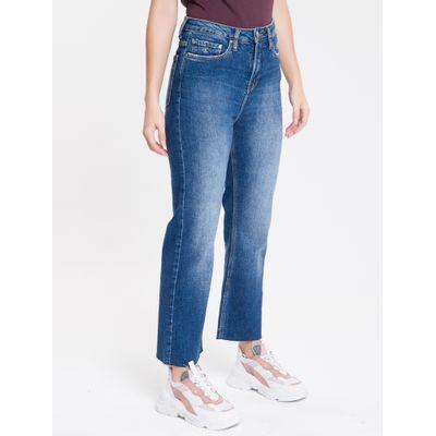 Calça Jeans Feminina Five Pockets Reta Cintura Alta Azul Marinho Calvin Klein