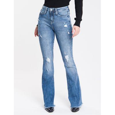 Calça Jeans Feminina Five Pockets Flare Cintura Super Alta Azul Médio Calvin Klein
