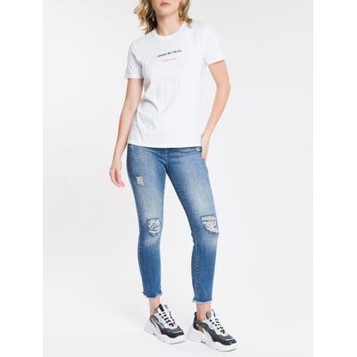Calça Jeans Feminina Five Pockets Slim Cintura Alta Azul Médio Calvin Klein