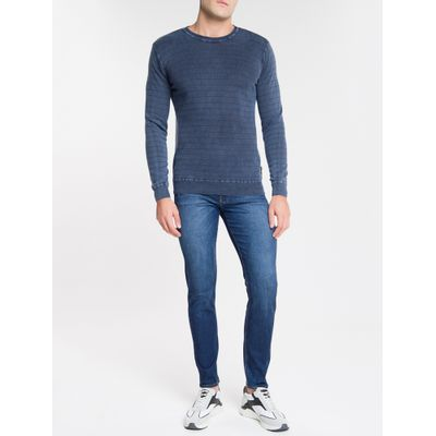Calça Jeans Masculina Five Pockets Super Skinny Cintura Baixa Azul Marinho Calvin Klein