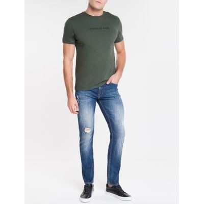 Calça Jeans Masculina Five Pockets Slim Reta Cintura Regular Azul Marinho Calvin Klein
