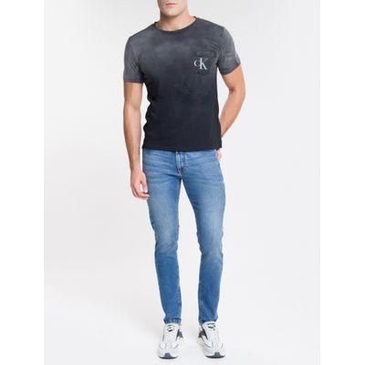 Calça Jeans Masculina Five Pockets Super Skinny Cintura Baixa Azul Médio Calvin Klein
