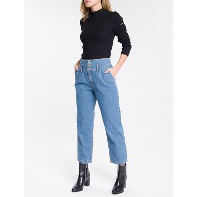 Calça Jeans Feminina Balloon Cintura Alta Azul Médio Calvin Klein