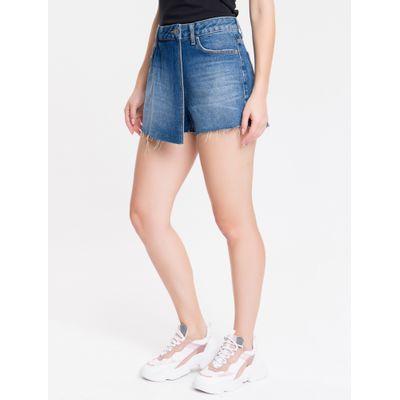 Shorts Saia Jeans Feminino Five Pockets Cintura Baixa Azul Marinho Calvin Klein