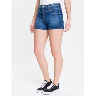 Shorts Jeans Feminino Five Pockets com Recorte Cintura Alta Azul Médio Calvin Klein