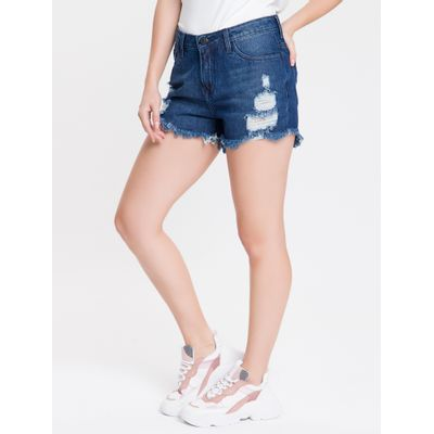 Shorts Jeans Feminino Five Pockets Destroyer Azul Marinho Calvin Klein