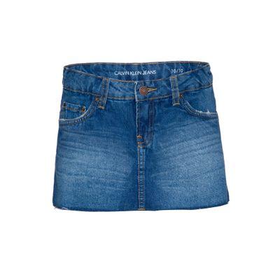 Shorts Saia Jeans Infantil Feminino Five Pockets Azul Médio Calvin Klein
