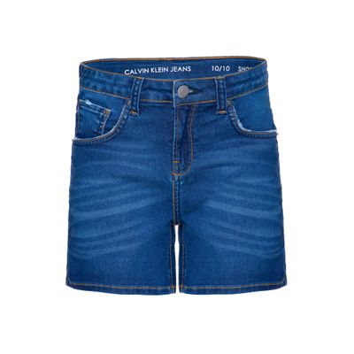 Shorts Jeans Infantil Feminino Five Pockets Barra Dobrada Cintura Alta Azul Médio Calvin Klein