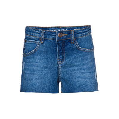 Shorts Jeans Infantil Feminino Five Pockets Cintura Alta Azul Médio Calvin Klein
